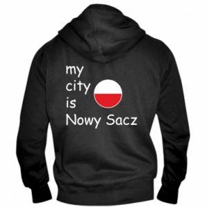 Męska bluza z kapturem na zamek My city is Nowy Sacz - PrintSalon