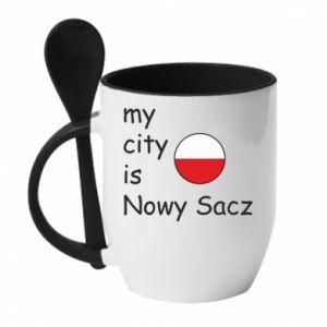 Kubek z ceramiczną łyżeczką My city is Nowy Sacz - PrintSalon