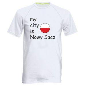 Męska koszulka sportowa My city is Nowy Sacz