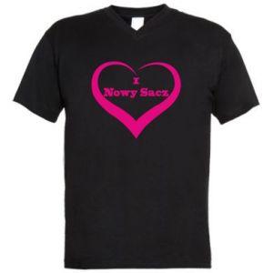 Męska koszulka V-neck Napis - I love Nowy Sacz - PrintSalon