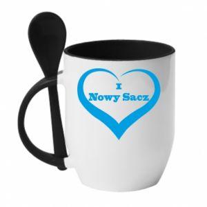 Kubek z ceramiczną łyżeczką Napis - I love Nowy Sacz - PrintSalon