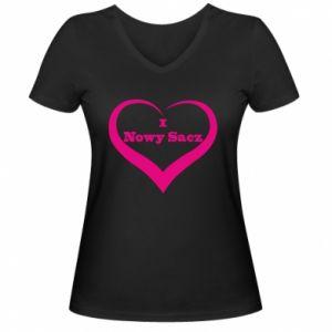 Damska koszulka V-neck Napis - I love Nowy Sacz - PrintSalon