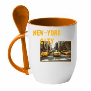 Kubek z ceramiczną łyżeczką NYC - PrintSalon