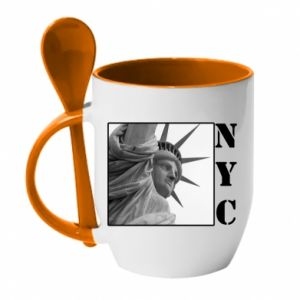 Kubek z ceramiczną łyżeczką NYC