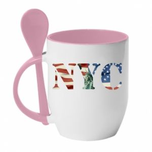 Mug with ceramic spoon NYC