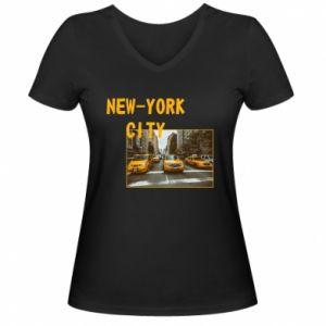 Damska koszulka V-neck NYC - PrintSalon