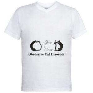 Męska koszulka V-neck Obsessive cat disorder