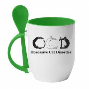 Kubek z ceramiczną łyżeczką Obsessive cat disorder
