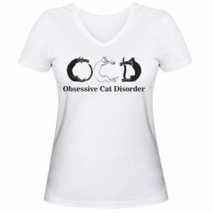 Damska koszulka V-neck Obsessive cat disorder