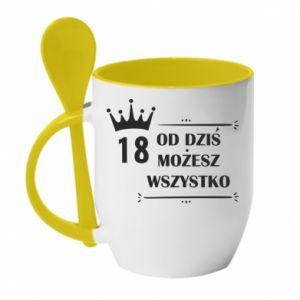 Mug with ceramic spoon Od dziś wszystko możliwe - PrintSalon