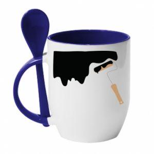 Kubek z ceramiczną łyżeczką Odśwież! - PrintSalon