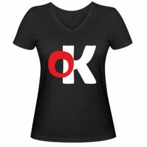 Damska koszulka V-neck Ok