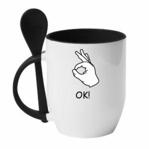 Kubek z ceramiczną łyżeczką OK! - PrintSalon