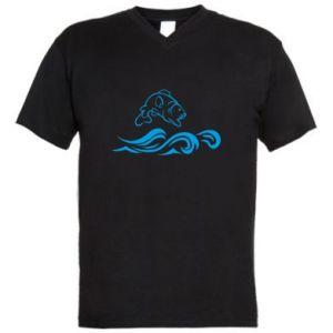 Męska koszulka V-neck Okoń wielkiej ryby
