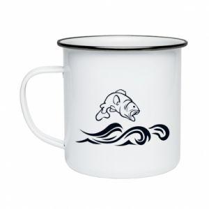 Enameled mug Big fish perch