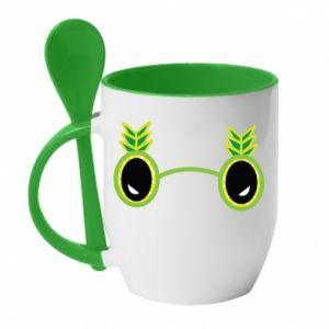 Mug with ceramic spoon Glasses - Pineapple