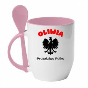 Mug with ceramic spoon Olivia is a real Pole - PrintSalon