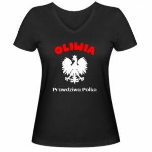 Women's V-neck t-shirt Olivia is a real Pole - PrintSalon