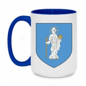 Two-toned mug 450ml Olsztyn coat of arms