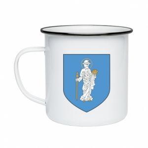 Enameled mug Olsztyn coat of arms