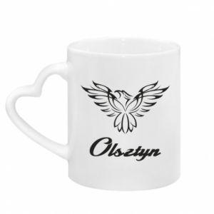 Mug with heart shaped handle Olsztyn openwork eagle