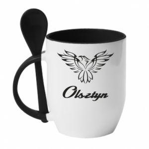 Kubek z ceramiczną łyżeczką Olsztyński ażurowy orzeł
