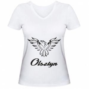 Damska koszulka V-neck Olsztyński ażurowy orzeł