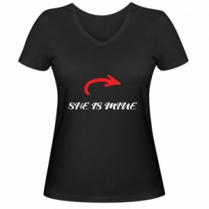 Women's V-neck t-shirt He's mine