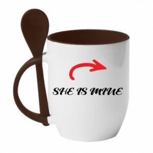 Mug with ceramic spoon He's mine