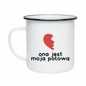Enameled mug She is my half