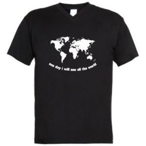 Men's V-neck t-shirt One day i will see all the world
