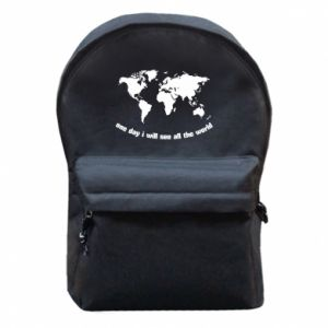 Backpack with front pocket One day i will see all the world