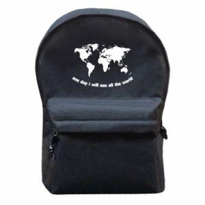 Plecak z przednią kieszenią One day i will see all the world