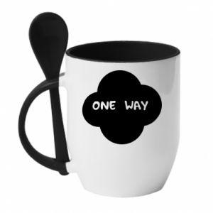 Kubek z ceramiczną łyżeczką One Way