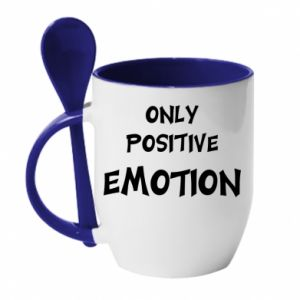 Kubek z ceramiczną łyżeczką Only positive emotion