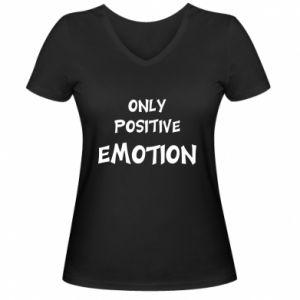 Damska koszulka V-neck Only positive emotion