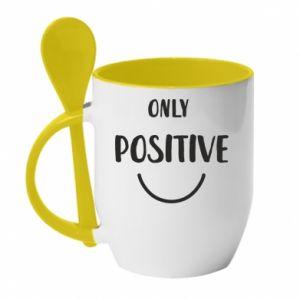 Kubek z ceramiczną łyżeczką Only  Positive!