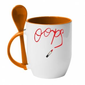 Mug with ceramic spoon Oops - PrintSalon