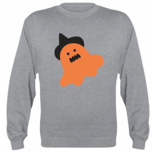 Sweatshirt Orange ghost in hat - PrintSalon