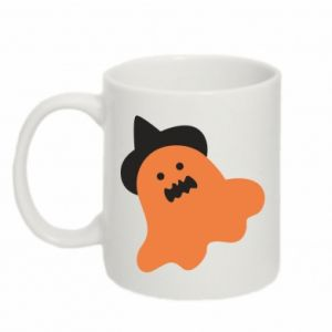 Mug 330ml Orange ghost in hat - PrintSalon