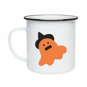 Enameled mug Orange ghost in hat - PrintSalon