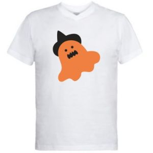 Men's V-neck t-shirt Orange ghost in hat - PrintSalon