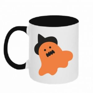 Two-toned mug Orange ghost in hat - PrintSalon