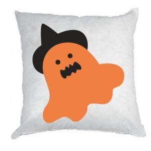 Pillow Orange ghost in hat - PrintSalon