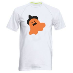 Men's sports t-shirt Orange ghost in hat - PrintSalon