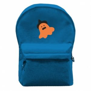 Backpack with front pocket Orange ghost in hat - PrintSalon