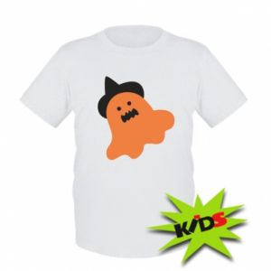 Kids T-shirt Orange ghost in hat - PrintSalon