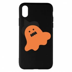 Phone case for iPhone X/Xs Orange ghost in hat - PrintSalon