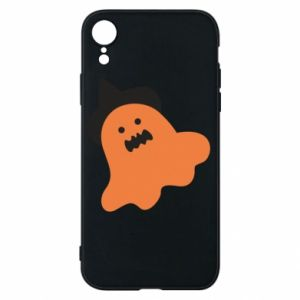 Phone case for iPhone XR Orange ghost in hat - PrintSalon