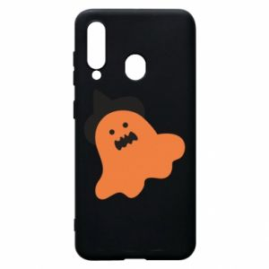 Phone case for Samsung A60 Orange ghost in hat - PrintSalon